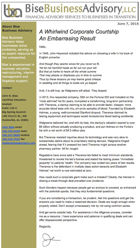 Bise Business Advisory Recent Newsletters